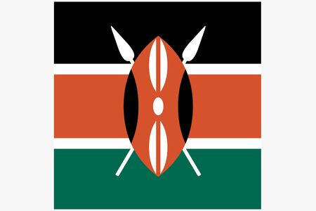 kenya: A Square Flag Illustration of the country of  Kenya