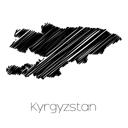 scrawl: A Scribbled Map of the country of  Kyrgyzstan