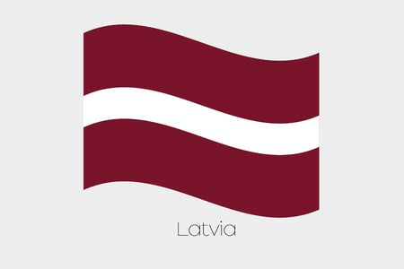 waving: A 3D Waving Flag Illustration of the country of  Latvia Stock Photo