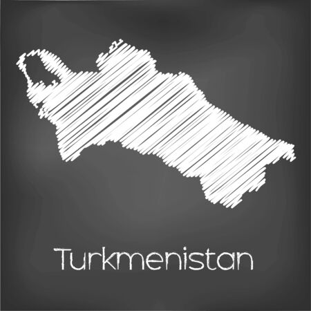 turkmenistan: A Scribbled Map of the country of Turkmenistan