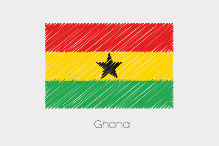 scribbled: A Scribbled Flag Illustration of the country of Ghana