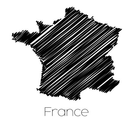 jot: A Scribbled Map of the country of  France Stock Photo