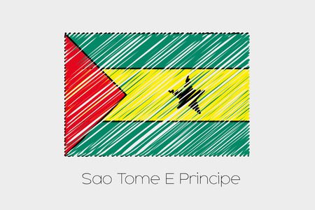 principe: A Scribbled Flag Illustration of the country of Sao Tome E Principe