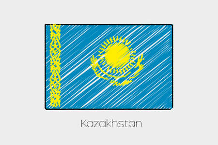 jot: A Scribbled Flag Illustration of the country of Kazakstan Stock Photo