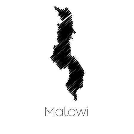 malawi: A Scribbled Map of the country of  Malawi