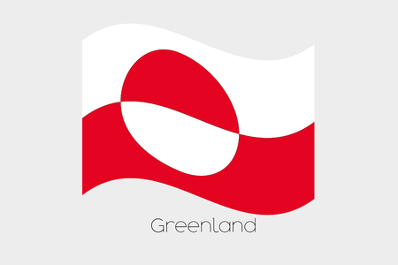 greenland: A 3D Waving Flag Illustration of the country of  Greenland Stock Photo