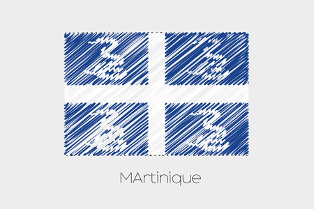 martinique: A Scribbled Flag Illustration of the country of Martinique