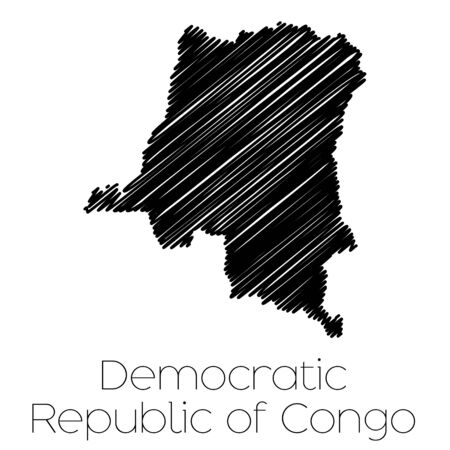 garabatos: A Scribbled Map of the country of  Democratic Republic of Congo Foto de archivo