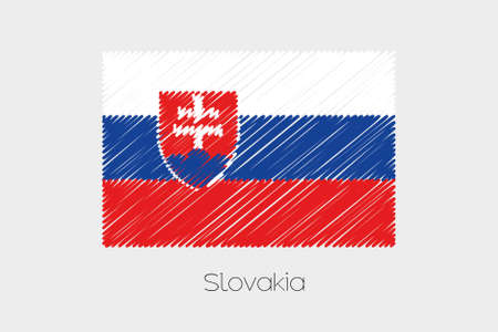 jot: A Scribbled Flag Illustration of the country of Slovakia Stock Photo
