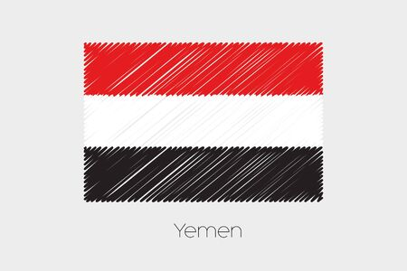 jot: A Scribbled Flag Illustration of the country of Yemen Stock Photo