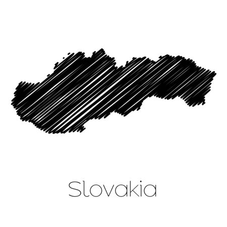 scrawl: A Scribbled Map of the country of  Slovakia