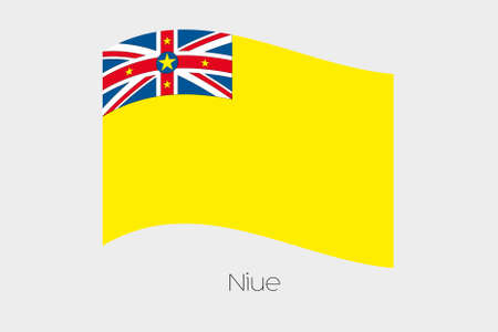 niue: A 3D Waving Flag Illustration of the country of  Niue
