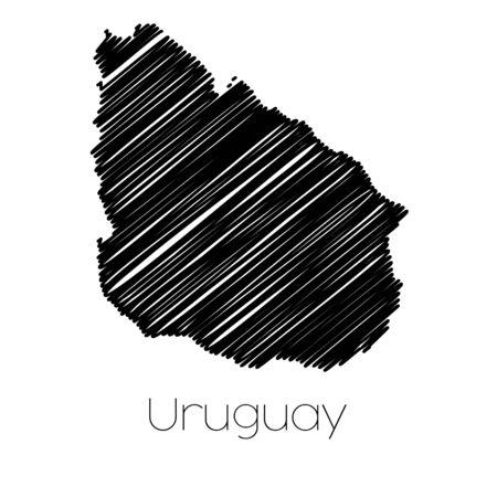 garabatos: Un Scribbled Mapa del país de Uruguay
