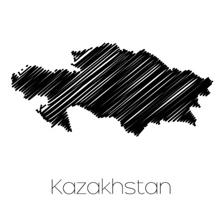 scrawl: A Scribbled Map of the country of  Kazakhstan