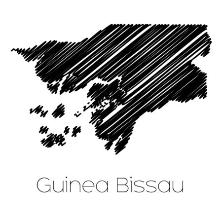garabatos: A Scribbled Map of the country of  Guinea Bissau Foto de archivo