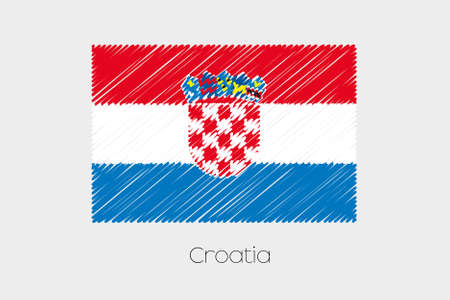 garabatos: A Scribbled Flag Illustration of the country of Croatia Foto de archivo