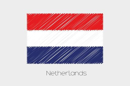 jot: A Scribbled Flag Illustration of the country of Netherlands