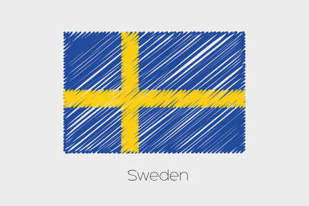 jot: A Scribbled Flag Illustration of the country of Sweden