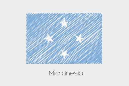 micronesia: A Scribbled Flag Illustration of the country of Micronesia