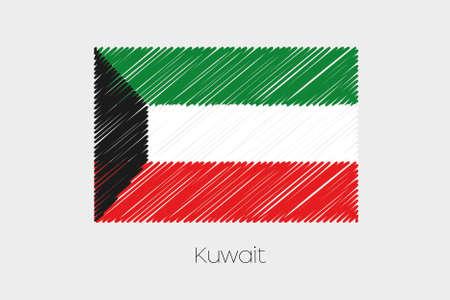 garabatos: Una ilustraci�n de la bandera garabateado del pa�s de Kuwait Foto de archivo