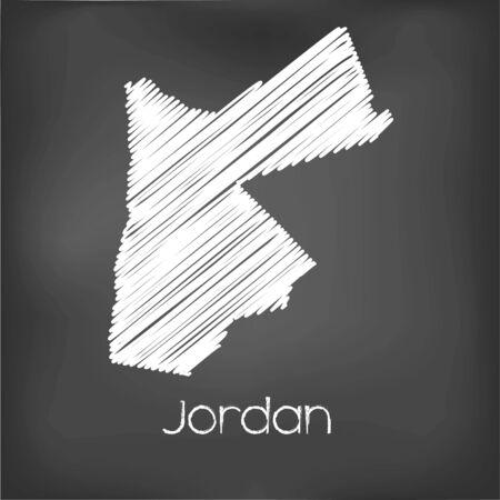 scrawl: Un Scribbled Mapa del país de Jordania Foto de archivo