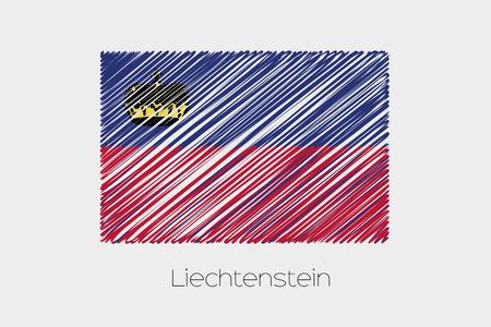 garabatos: Una ilustraci�n de la bandera garabateado del pa�s de Liechtenstein Foto de archivo