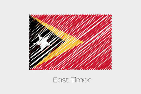 jot: A Scribbled Flag Illustration of the country of East Timor