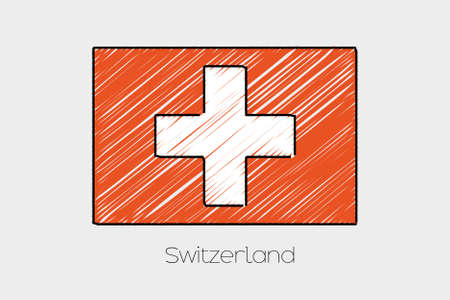 garabatos: A Scribbled Flag Illustration of the country of Switzerland Foto de archivo