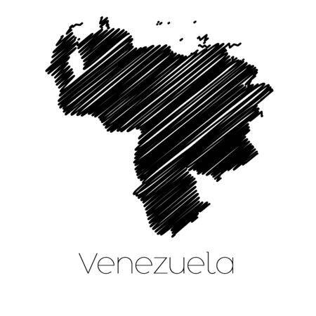 mapa de venezuela: Un Scribbled Mapa del pa�s de Venezuela