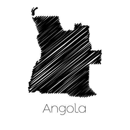 scribbled: A Scribbled Map of the country of  Angola