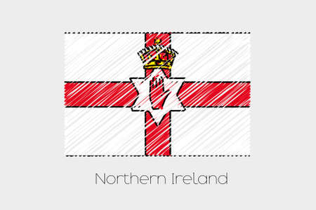 garabatos: A Scribbled Flag Illustration of the country of Northern Ireland