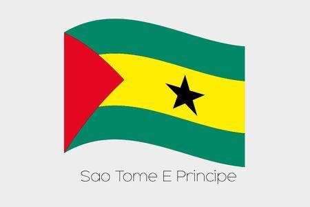 principe: Una ilustración de la bandera que agita 3D del país de Santo Tomé y Príncipe