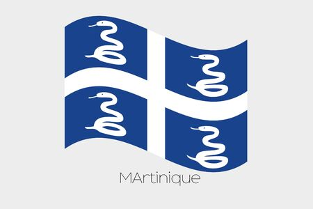 martinique: A 3D Waving Flag Illustration of the country of  Martinique