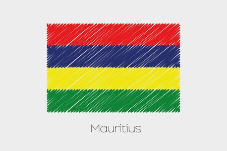 jot: A Scribbled Flag Illustration of the country of Mauritius