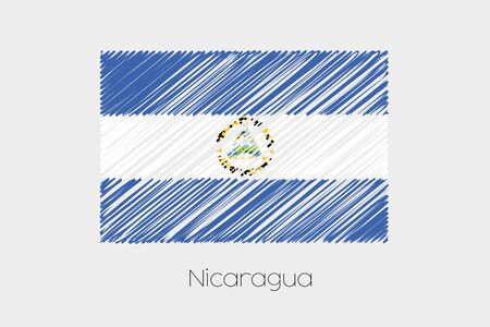 jot: A Scribbled Flag Illustration of the country of Nicaragua