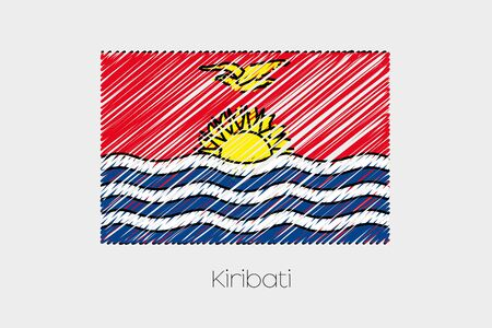 kiribati: A Scribbled Flag Illustration of the country of Kiribati
