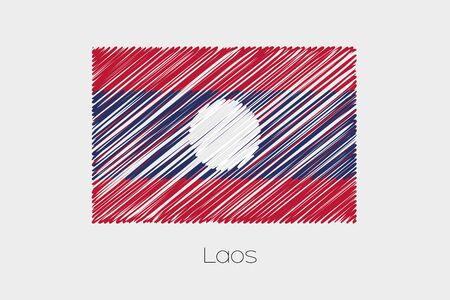 scrawl: Una bandera garabateado Ilustración del país de Laos