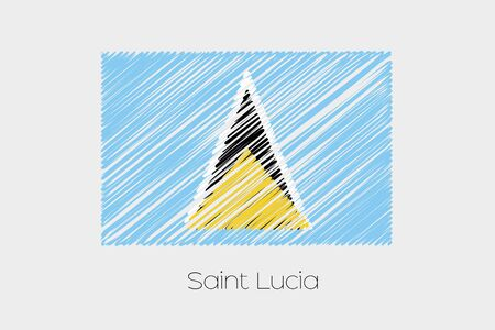 scrawl: A Scribbled Flag Illustration of the country of Saint Lucia