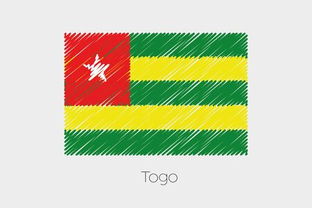 togo: A Scribbled Flag Illustration of the country of Togo
