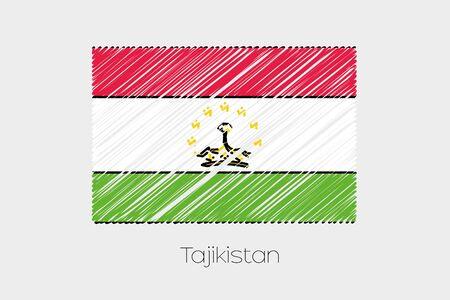 tajikistan: A Scribbled Flag Illustration of the country of Tajikistan