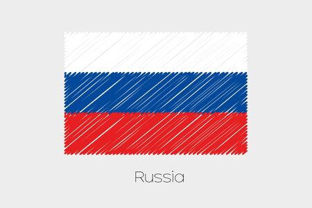 jot: A Scribbled Flag Illustration of the country of Russia Stock Photo