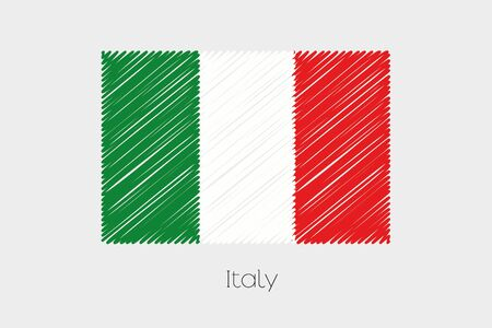 europe flag: A Scribbled Flag Illustration of the country of Italy