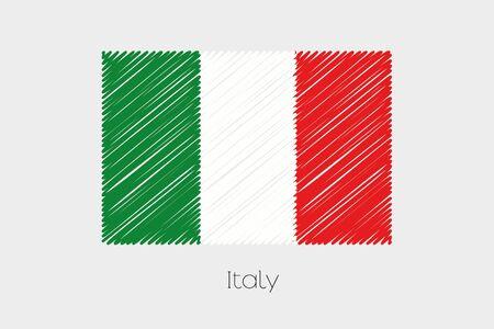 italien flagge: Eine Gekritzeltes Flagge Illustration des Landes Italien