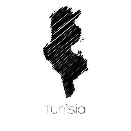 scrawl: A Scribbled Map of the country of  Tunisia