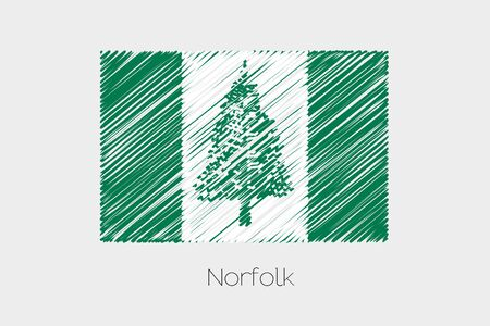 scribbled: A Scribbled Flag Illustration of the country of Norfolk