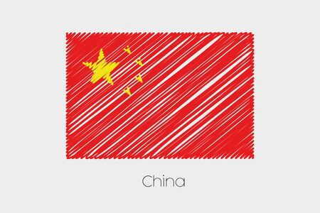 flag template: A Scribbled Flag Illustration of the country of China Stock Photo