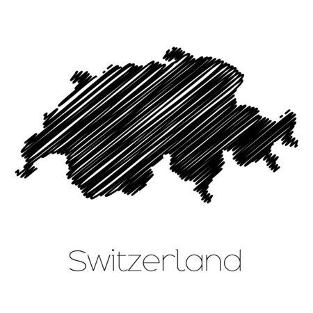 garabatos: Un Scribbled Mapa del pa�s de Suiza