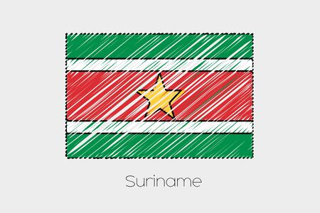 suriname: A Scribbled Flag Illustration of the country of Suriname
