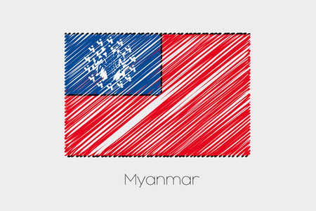 garabatos: A Scribbled Flag Illustration of the country of Myanmar Foto de archivo