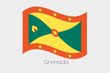 grenada: A 3D Waving Flag Illustration of the country of  Grenada Stock Photo